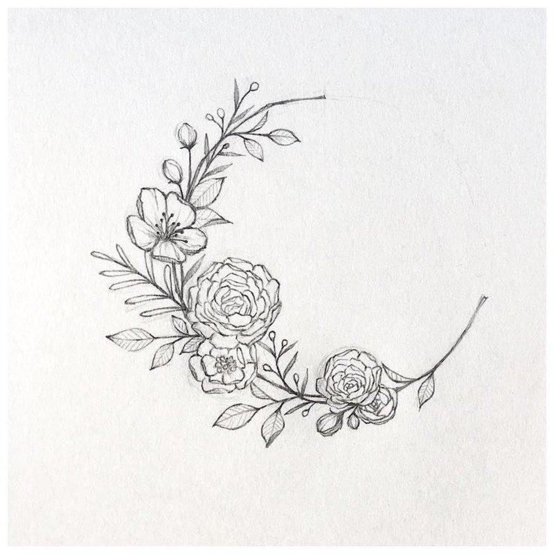 Эскиз тату луны из цветов