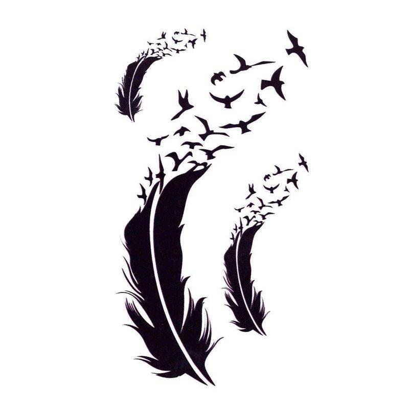 Перо и птички - эскиз для тату