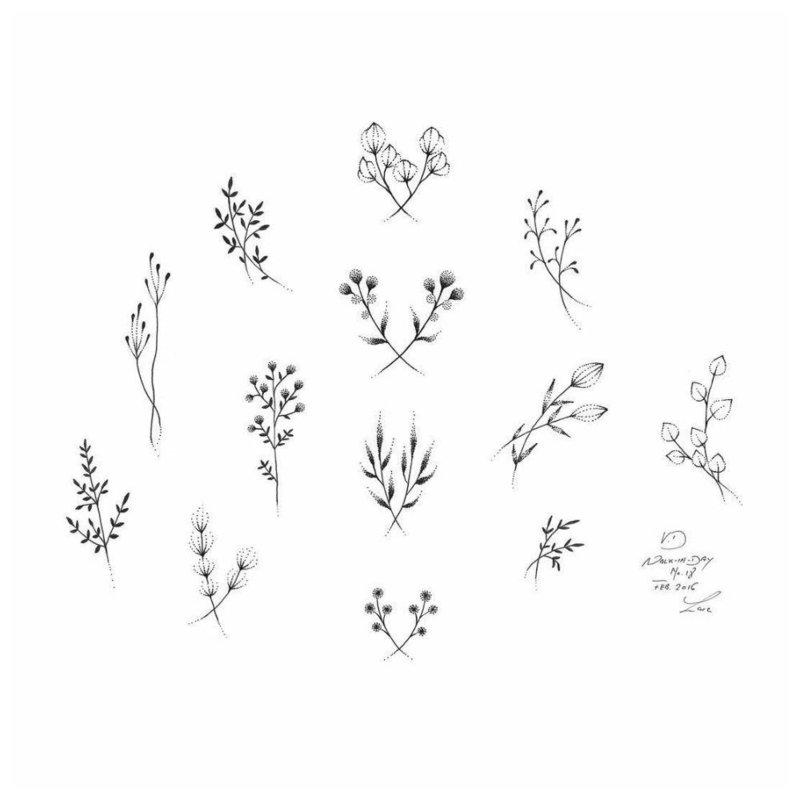 Цветы и веточки - эскиз для тату