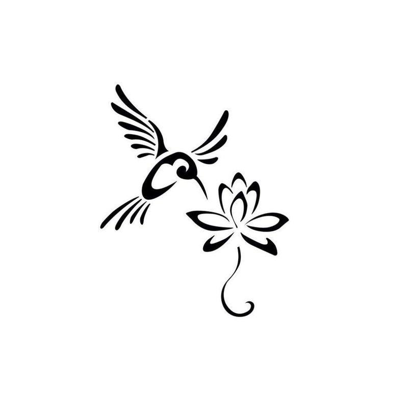 Птица и цветок - эскиз для тату