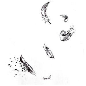 Эскиз тату перьев