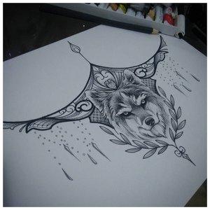 "Эскиз тату под грудь ""Волк"""