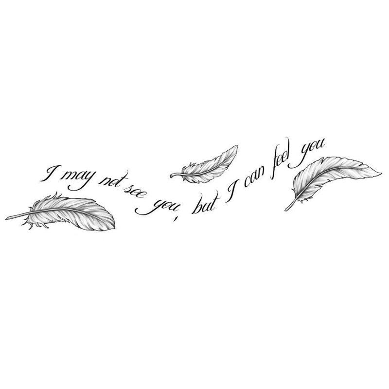 """Эскиз тату-надписи """"Я тебя не вижу, но чувствую"""""""