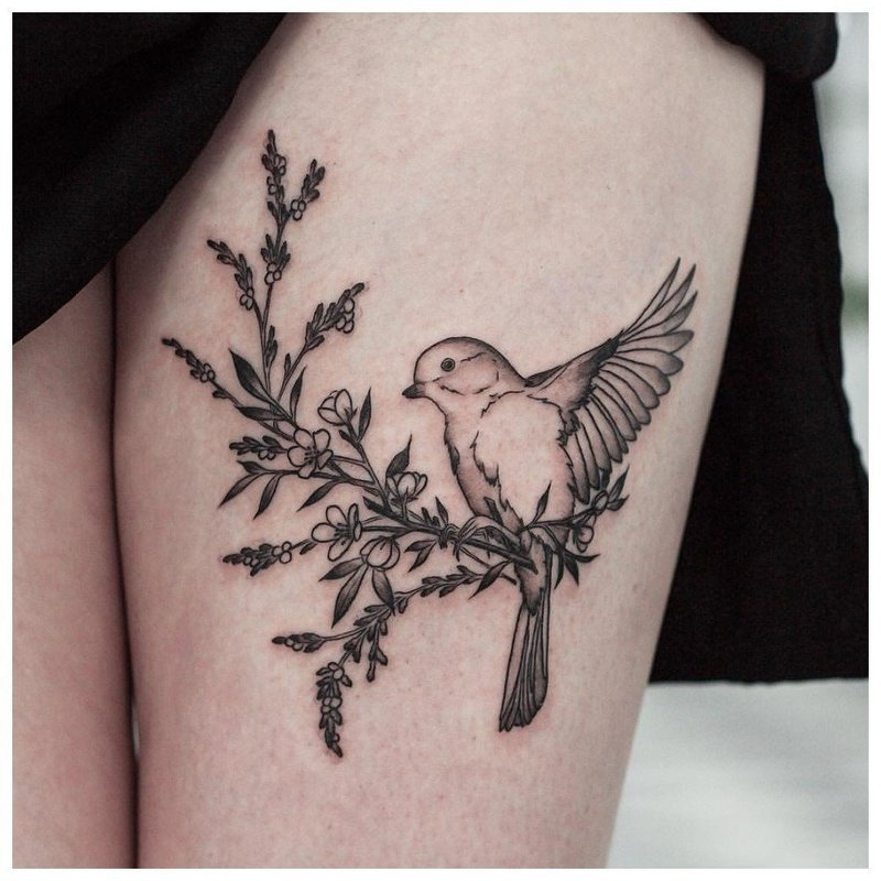 Тату голубя на женской ноге