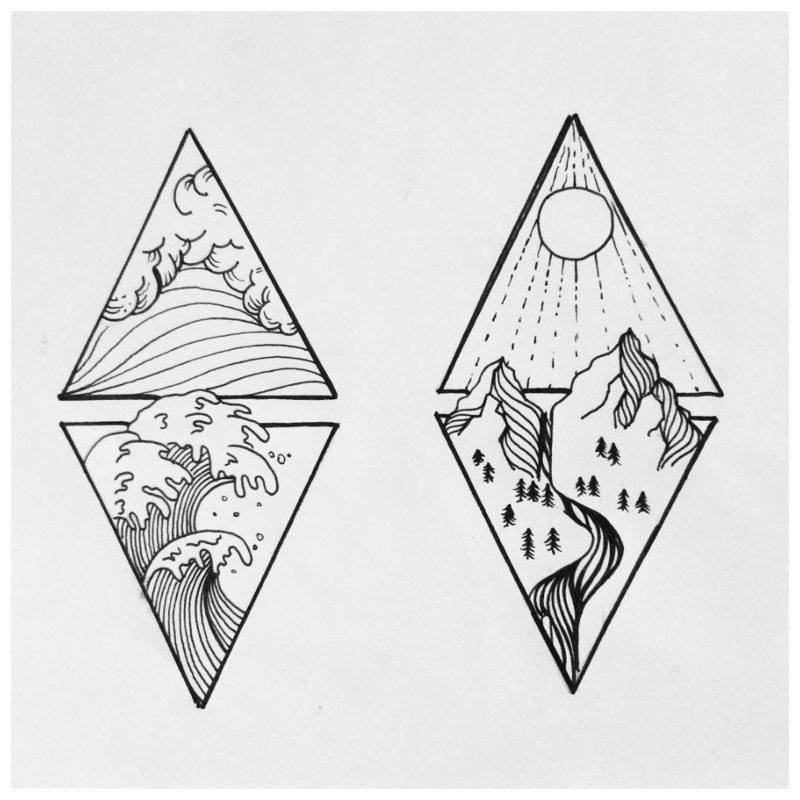 Пейзажная тематика эскизов для тату