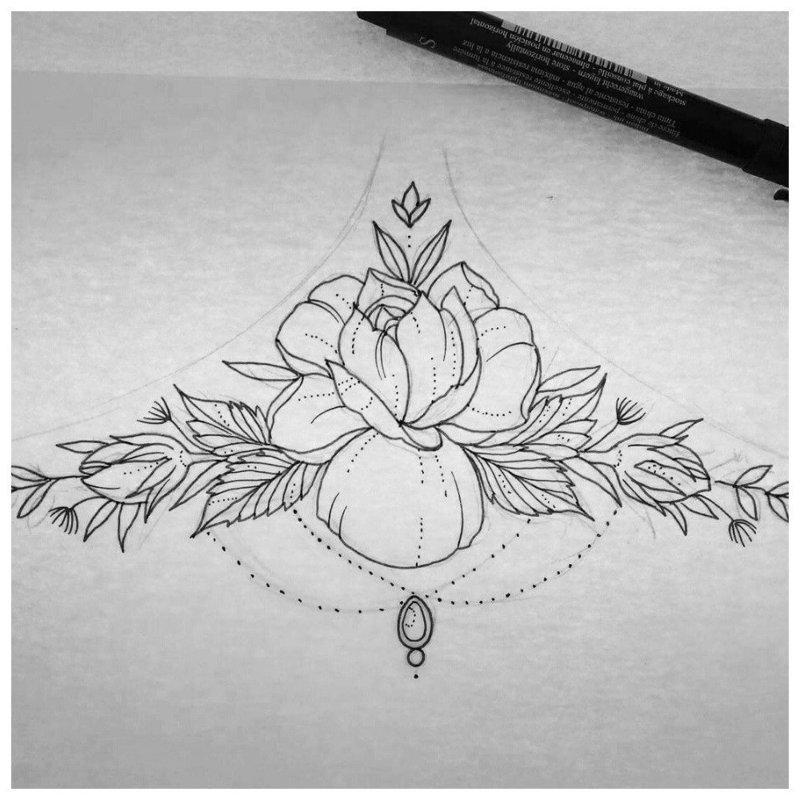 Эскиз тату-мандала с нежным цветком