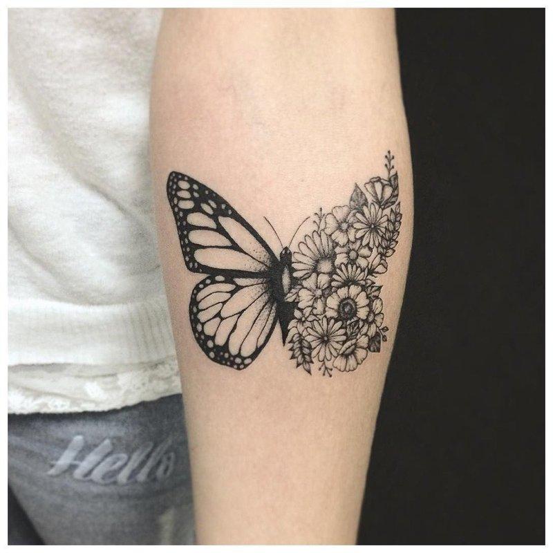 Оригинальная татуировка бабочки на руке