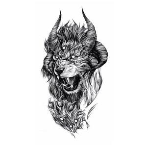 Оскал льва - эскиз для тату