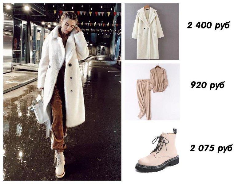 Виктория Боня в белом пальто