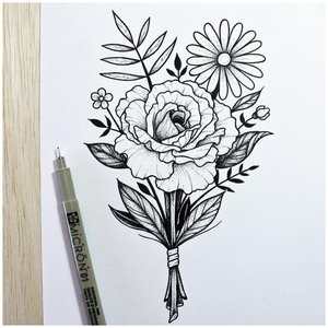 Эскиз цветка для тату