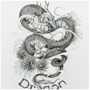 Японский дракон эскиз для тату