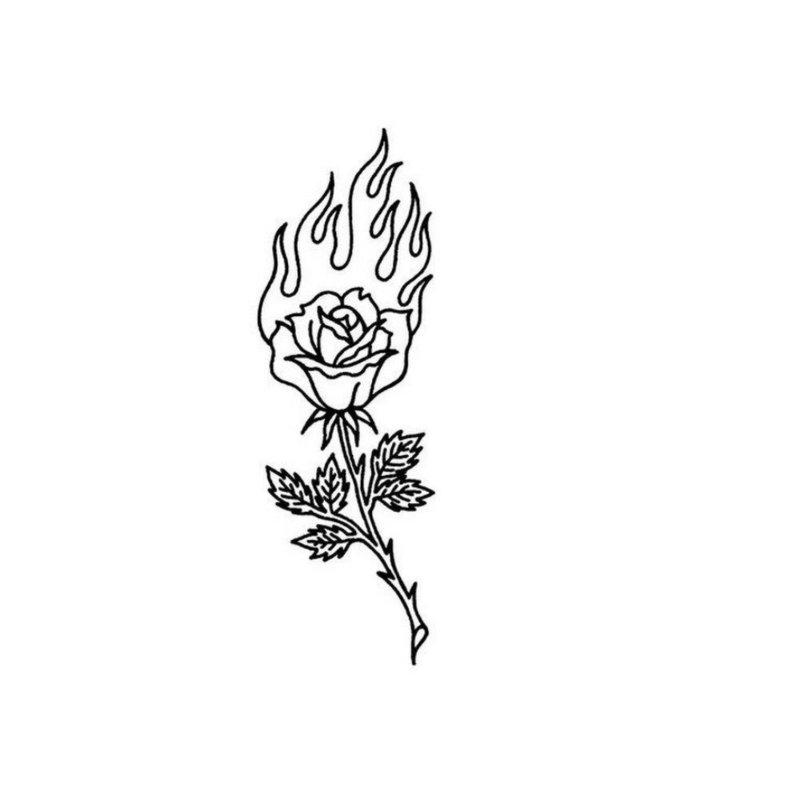 Горящая роза эскиз для тату