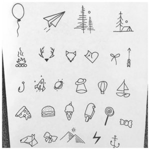 Эскизы минималистичных тату ручкой