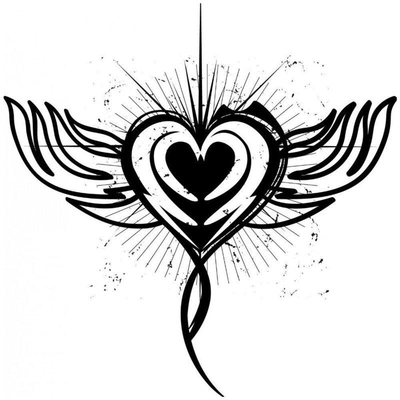 Красивое сердце эскиз для тату