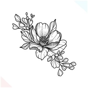 Красивый эскиз цветка для тату