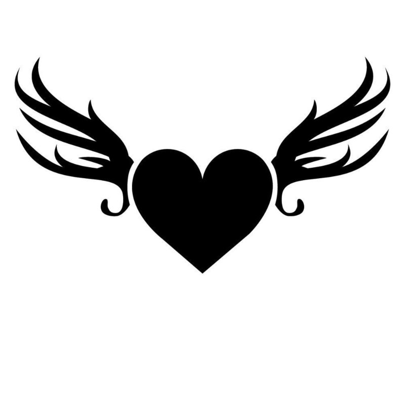 Сердце с крыльями - эскиз для тату