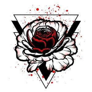 Роза в перевернутом треугольнике эскиз для тату