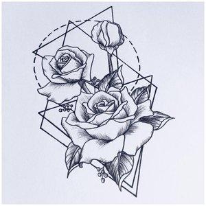 Роза в геометрической фигуре эскиз для тату