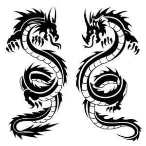 Два дракона эскизы для тату