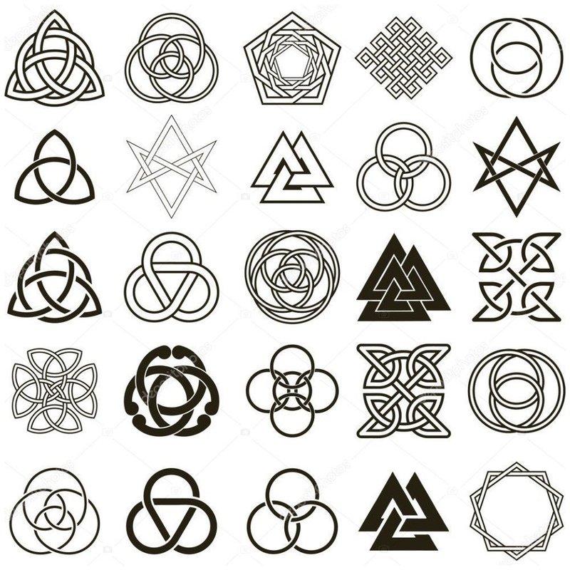 Эскиз различных символов для тату