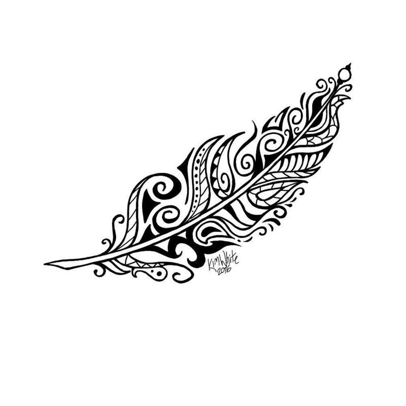Необычное перо эскиз для тату