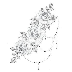 Цветочная тематика эскиза для тату