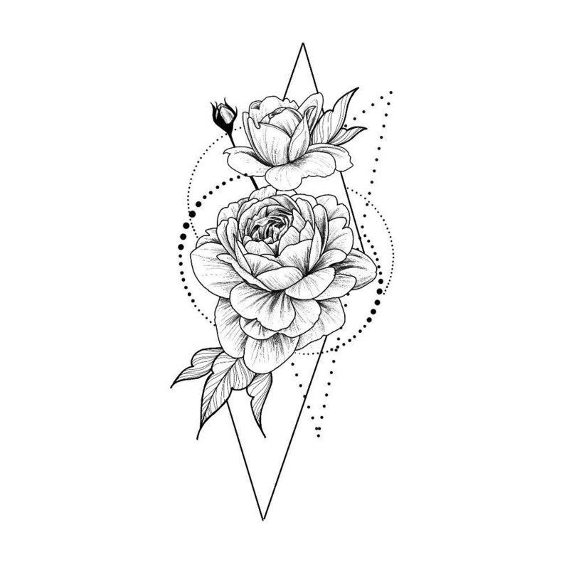 Роза и геометрическая фигура - эскиз для тату