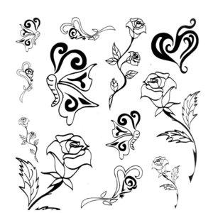 Тату розы с сердечками и бабочками