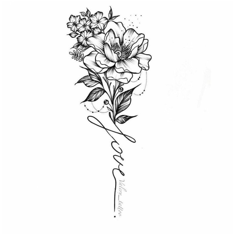 Красивый цветок эскиз тату для девушки