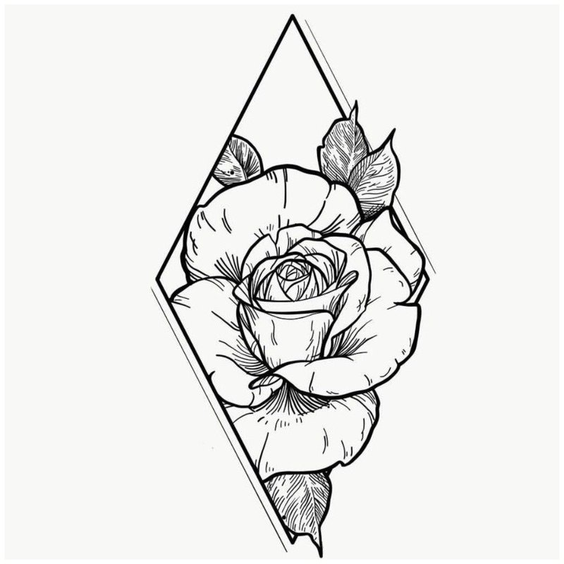 Эскиз розы для тату