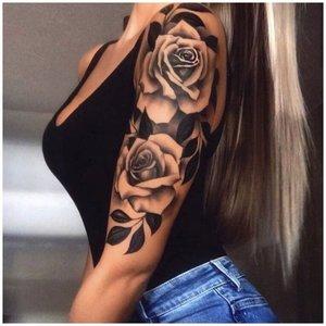 Тату рукав роза