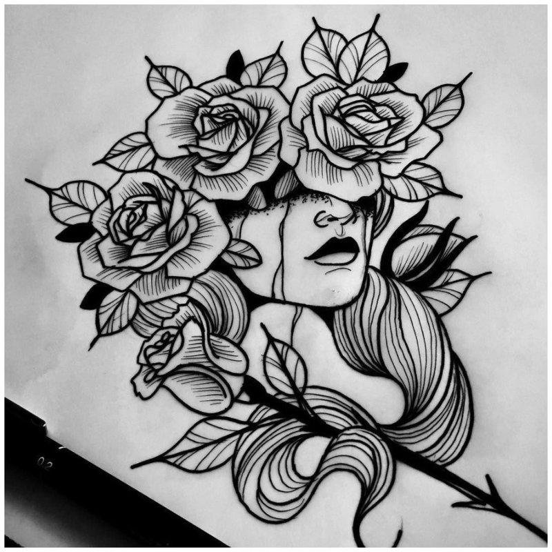 Красивый эскиз тату головы девушки в цветах