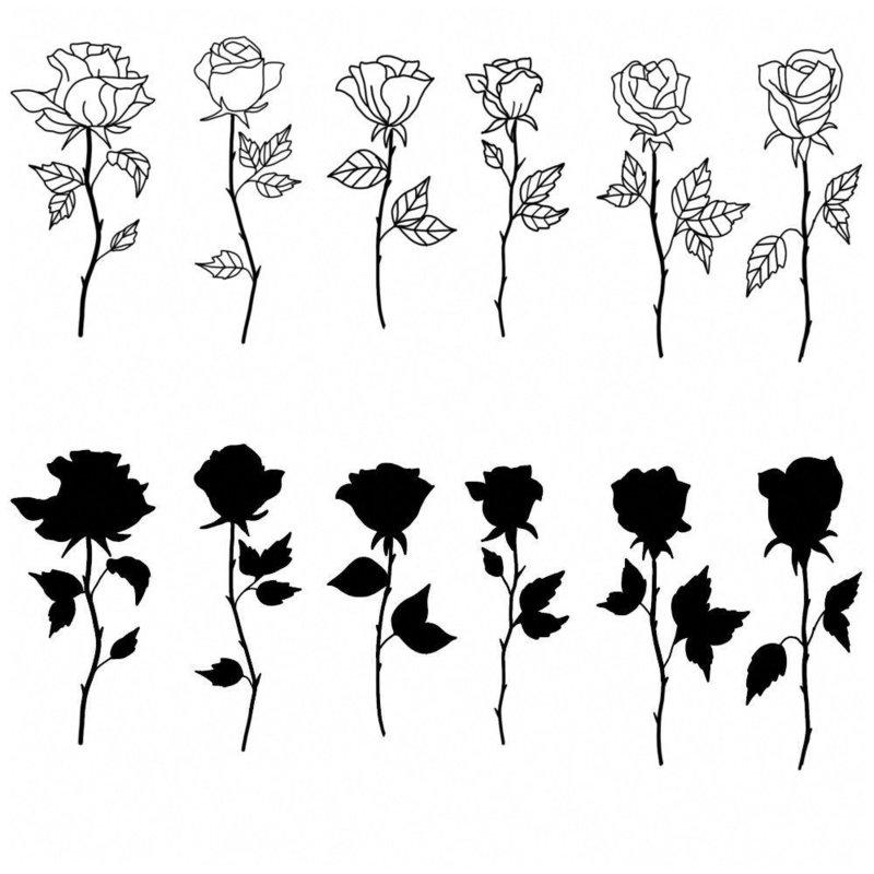 Эскизы розы для мини тату