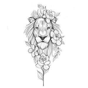 Голова льва эскиз для тату