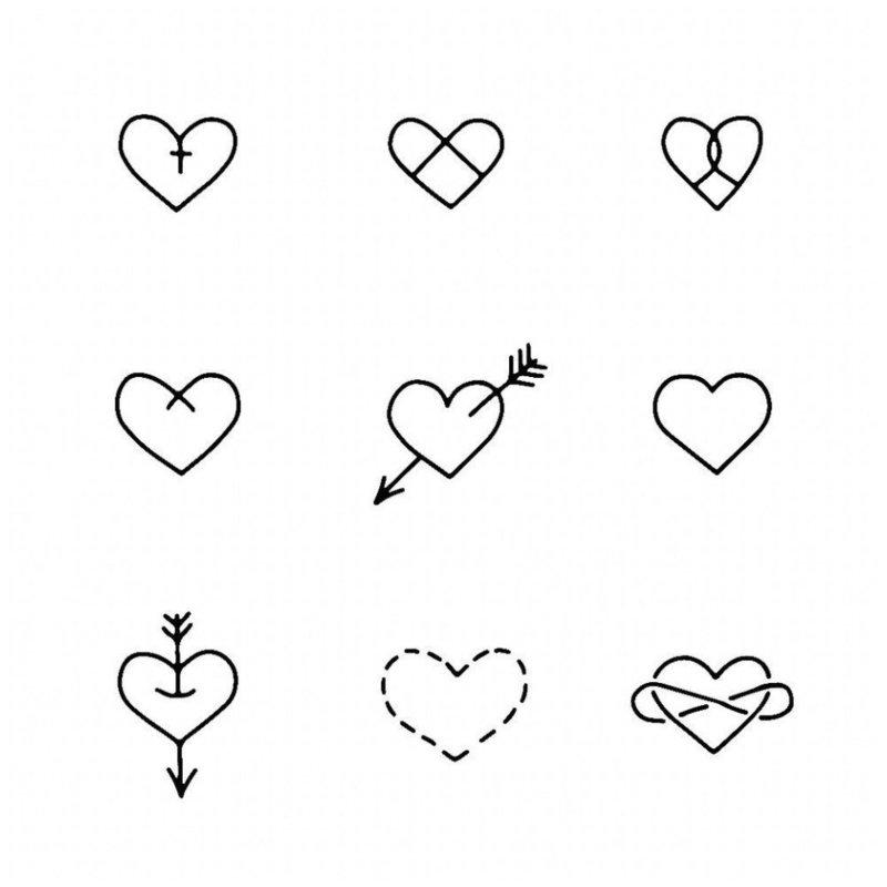 Разные сердечки эскизы для тату