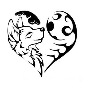 Красивый эскиз сердце и волчонок
