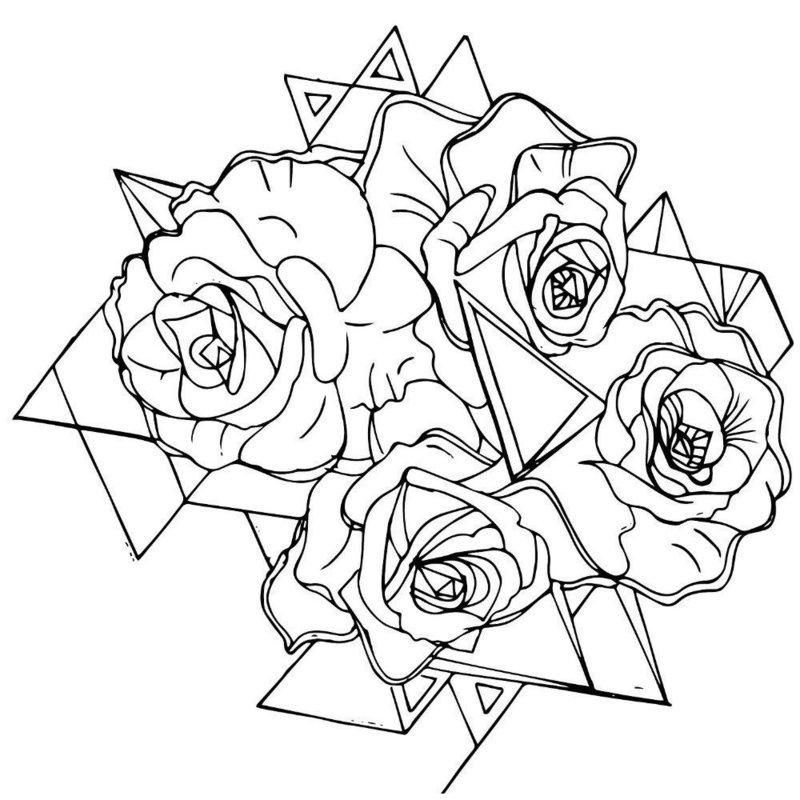 Несколько роз эскиз для тату