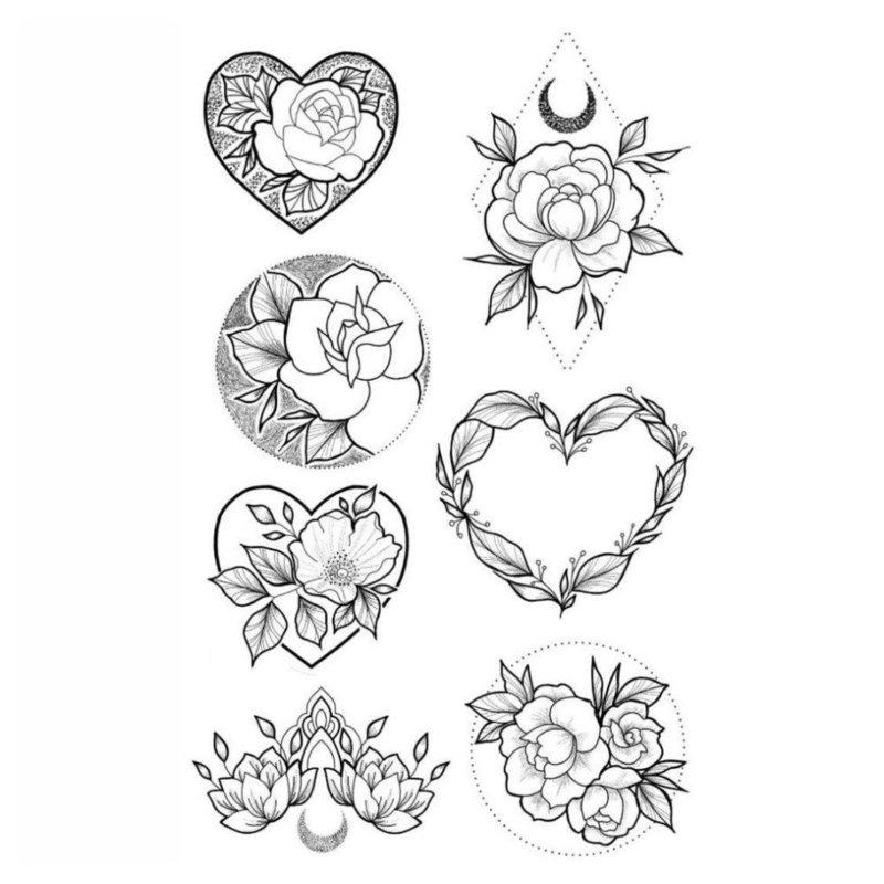 Несколько эскизов цветов для тату