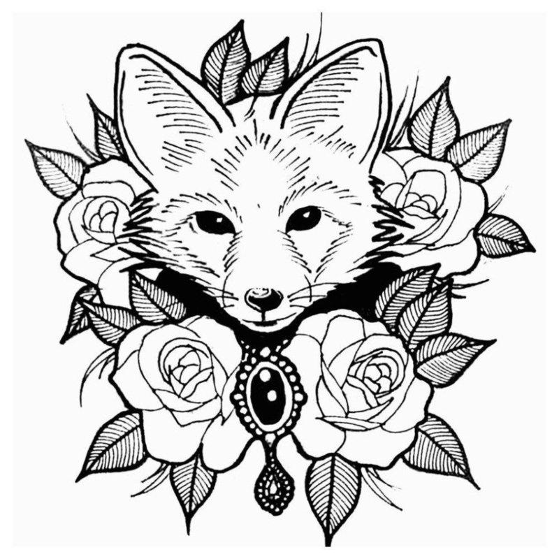 Голова волчонка в цветах - эскиз для тату