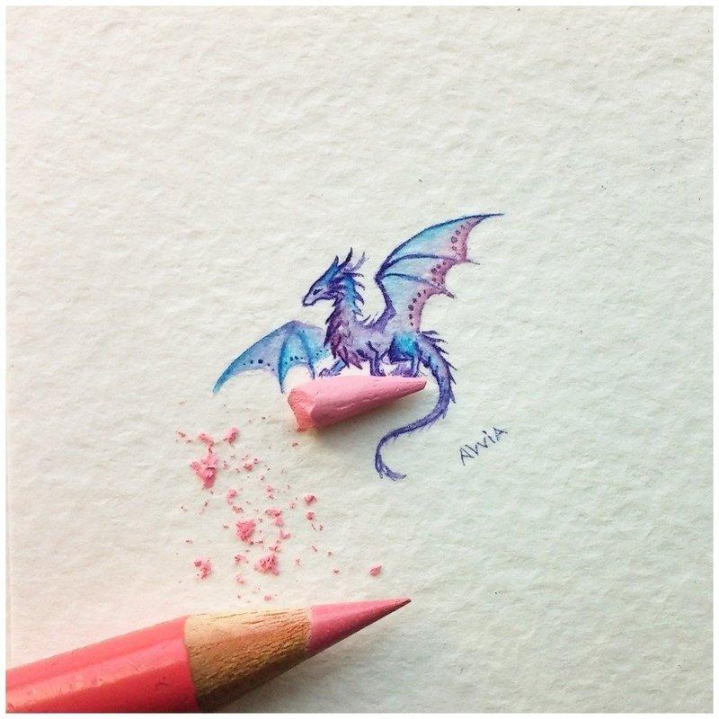 Дракон нарисованный карандашом тату