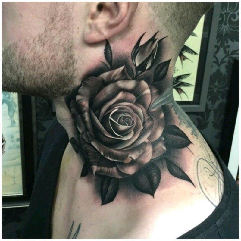 Красивая роза тату на шее у мужчины