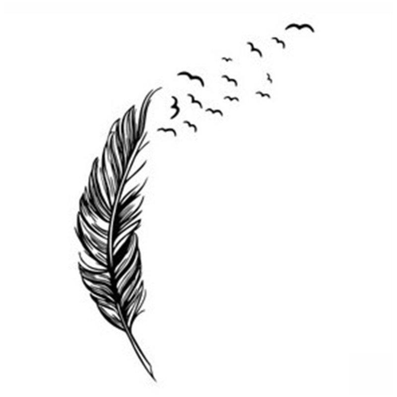Перо и птицы эскиз для тату