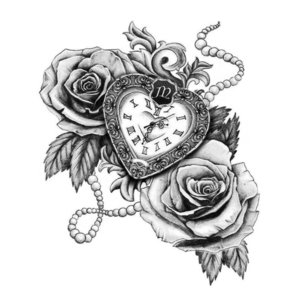 Роза и часы эскиз для тату