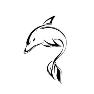 Тату дельфина ручкой