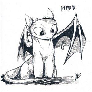 Эскиз дракона беззубика для тату