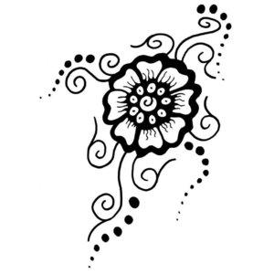 Тату-узор с цветком ручкой