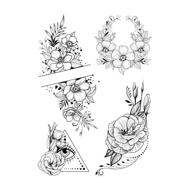 Оригинальные цветы эскиз для тату