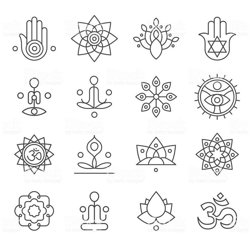 Эскиз разных символов для тату