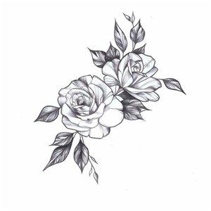 Необычная роза эскиз для тату