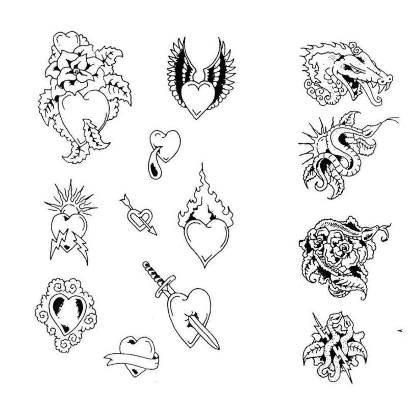 Эскизы тату с сердцами и драконами
